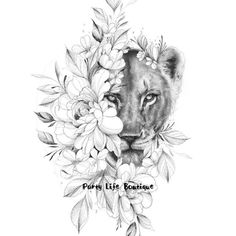 Lion Tattoo With Flowers, Lion Flower, Flower Tattoos, Feather Tattoos, Nature Tattoos, Lion Back Tattoo, Lion Tattoo Sleeves, Sleeve Tattoos, Female Tattoo Sleeve