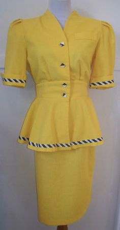 Vintage 80's Yellow Peplum Suit L