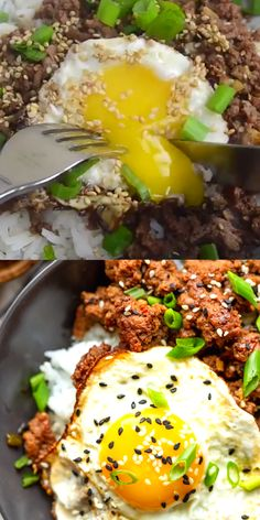 These Korean Ground Beef bowls are an easy and quick ground beef recipe perfect for weeknight dinners! The flavors of beef bulgogi made easy using ground beef! Korean Beef Recipes, Best Beef Recipes, Asian Recipes, Korean Beef Bowl, Beef Recipe Video, Beef Bowl Recipe, Recipe Videos, Jamoncillo Recipe, Ground Beef Recipes For Dinner