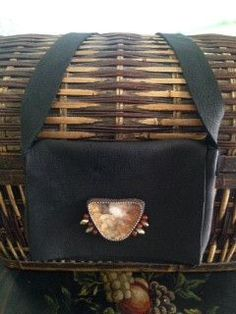 Black Buffalo Leather Cross-Body Purse with Tan and White-Toned Prairie Agate Hand-Beaded Medallion