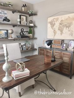 World Market furniture, home office, decor, desk, side table, diy, pipe shelves, linen chair, office decor, map, vintage, industrial farmhouse