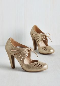 Brave Heel in Gold by Seychelles - Gold, Solid, Cutout, Wedding, Party, Girls Night Out, Holiday, Holiday Party, Vintage Inspired, 40s, Better, Mary Jane, Mid, Leather, Variation