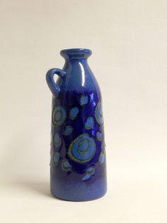 Strehla East Germany cobalt blue fat lava vase. by beautifulsweden, kr150.00