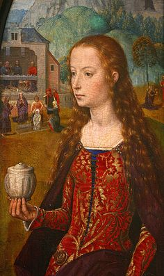 Mary Magdalene by Hans Memling (ca 1435-1494), Triptych of the Rest on the Flight into Egypt, 1475-80, oil on canvas, detail