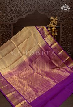 Pure Kanjivaram Silk Saree in Cream with Self Weave Zari Buttas and Pl – Shobitam Kanjivaram Sarees, Silk Sarees, Purple Saree, Wines, Weave, Delicate, Pure Products, Cream, Plum