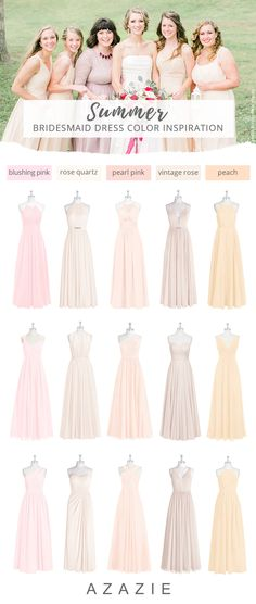 Summer wedding color trends for Shop our large variety of pink bridesmaid dresses at Azazie, from blush pink to dusty pink. Pastel Colour Bridesmaid Dresses, Blush Pink Bridesmaid Dresses, Azazie Bridesmaid, Wedding Bridesmaids, Summer Wedding Colors, Pink Summer, Spring Wedding, Wedding Inspiration, Wedding Ideas
