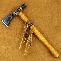 Native American Style Beaded Rawhide Metal Hammer Head Tomahawk (RAZOR SHARP)