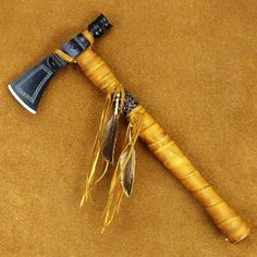 Native American Style Beaded Rawhide Metal Hammer Head Tomahawk (RAZOR SHARP)