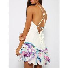 White Spaghetti Strap Backless Floral Print Dress (31 BAM) ❤ liked on Polyvore featuring dresses, white, floral flare dress, short dresses, short flare dress, white dress and sleeveless dress
