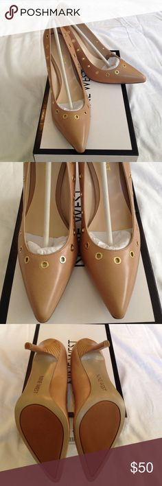 """Nine West Stilettos, 8 Nude leather, gold grommets. Never worn, original packaging and box. Almost 100mm heel (Appx. 4"""") BEAUTIFUL!! Nine West Shoes Heels"""