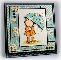 """Stamps: My Favorite Things """"My Umbrella"""" (Pure Innocence 2010)  Ink: Memento Tuxedo Black  Cardstock:  Prism Black and Island Mist Light, MFT Perfect Paper Panel  Patterned Paper: October Afternoon """"Report Card""""  Accessories: Copic markers (E000, E00, E31, E33, E35, Y17, Y38, R20, C00, C1), Fiskars Apron Strings border punch, Prismacolor pencils/Weber Natural Turpenoid, brads, dimensional boosters.  Finished size 5"""" x 5""""."""