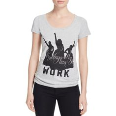 Hamilton Work Schuyler Sisters Tee ($41) ❤ liked on Polyvore featuring tops, t-shirts, heather gray, star print top, star t shirt and star tee