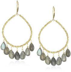 Amazon.com: Dana Kellin Heart Shape Open with Multi-Labradorite Briolette Earrings: Jewelry