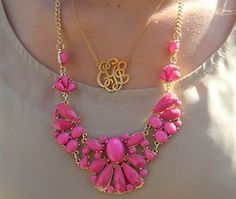 beauty jewelry fashion pink queued gold necklace Hot Pink monogram monogram necklace monogrammed necklace