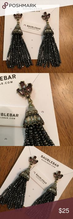 New Never Worn Bauble Bar Earrings New Never Worn Bauble Bar fringe earrings , black / grey color absolutely gorgeous - Authentic No trades ! Bauble Bar  Jewelry Earrings