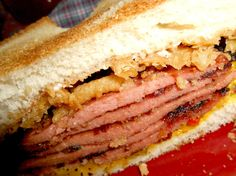 This sandwich has a lot of Nostalgia for my family, two of my favorite people loved fried bologna sandwiches. One of whom grew up in a junkyard, eating them all through her childhood. I created the (Sandwich Recipes For Work) Best Sandwich, Sandwich Recipes, Spam Recipes, Top Recipes, Recipies, Bologna Recipes, Fried Bologna, Bologna Sandwich, Bologna