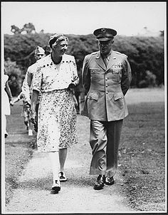 Eleanor Roosevelt and Eisenhower in Hyde Park, New York - 1945