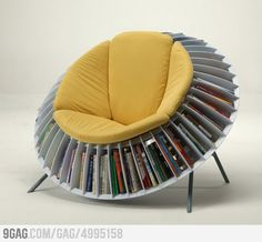 Flower chair -- store mags for reading. needs a hassock that does something similar