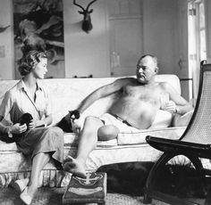 Jean Patchett and Ernest Hemingway, photo by Clifford Coffin at Finca Viglia, San Francisco de Paula, Cuba, American Vogue, 1950