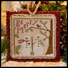 Snow In Love LHN ornament--so cute--love Vonna's finishing, too!