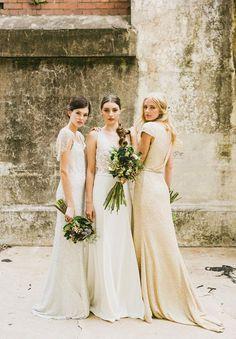 Neutral bridesmaid looks