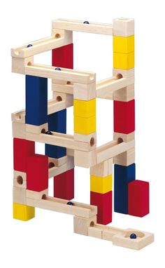 Wooden Marble Run Toy Building Blocks Game 54 piece by HSL - Shop Online for Toys in the United States Building Block Games, Building Toys, Wooden Marble Run, Marble Runs, Preschool Learning Toys, Marble Machine, Block Center, Marble Games, Toys Online