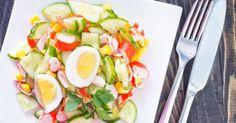 Recette de Salade de crudités au surimi. Facile et rapide à réaliser, goûteuse et diététique. Ingrédients, préparation et recettes associées.