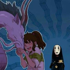 Chihiro and Haku as a dragon with No Face Film Anime, Manga Anime, Anime Art, Studio Ghibli Art, Studio Ghibli Movies, Hayao Miyazaki, Chihiro Y Haku, Muse Art, Howls Moving Castle