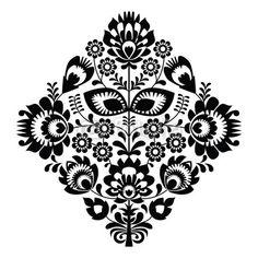 Fototapeta haft ludowy z kwiatami - polski wzór monochromatyczny - wzór • PIXERS.pl