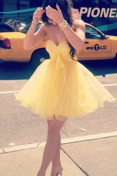Cute Yellow Mini Sweetheart Ball Gown Prom dress/Graduation Dress/Homecoming Dresses