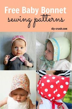 Free baby bonnet sewing patterns for download. Sew up some cute bonnets for babies | DIY Crush