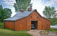 Barn Ponderosa Country Barn project by Sand Creek Post & Beam. View this gallery for ideas on your next dream barn. Pole Barn House Plans, Pole Barn Homes, Barn Plans, Barn Garage, Garage Shop, Country Barns, Old Barns, Horse Barns, Horses