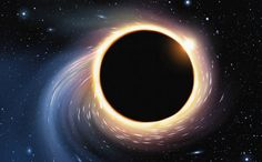 An illustration of a black hole.   Japanese researchers calculated the internal energy of a black hole and that of a theoretical lower-dimensional cosmos. The similarities provide evidence to support the theory that the universe is a hologram. (Shutterstock*)