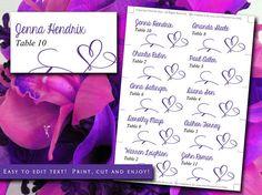 "DIY Wedding Place Cards Template | Regency Purple ""Love"" Heart Escort Card | Wedding Table Card | Calligraphy Wedding Escort Cards by PaintTheDayDesigns"