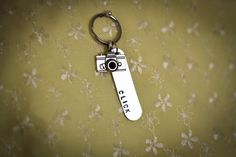 CLICK Hand Stamped Keychain with Camera Charm #photography #photographers #camera, $20.00