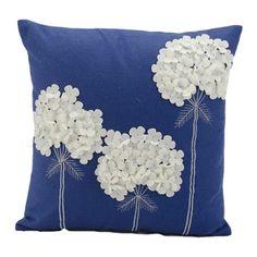 Nourison Mina Victory 18-inch Blue Felt Throw Pillow