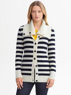 Striped Extra-Fine Merino Wool Cardigan, Banana Republic