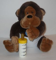 "SOLD!!  Monkey Baby Diaper Bottle Ape Gorilla Dakin 1986 Stuffed 10"" Plush Sucks Thumb #Dakin"