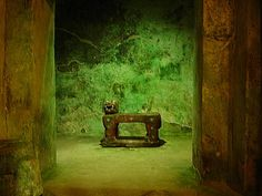 """Red Jaguar throne inside interior temple of the Pyramid Of Kukulkan """"El Castillo"""", Chichén Itzá. Frank and I were very lucky to have seen this."""