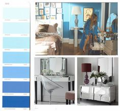 Sex and the city. Carrie's apartment after the renovation in the first movie was just amazing! I found this picture of her bedroom online, love the blue wall colour and crisp white trim. Rather than feeling to cool (as blue can ) it is bright and invigorating. The glam mirrored dressing table is to die for, a real statement piece.