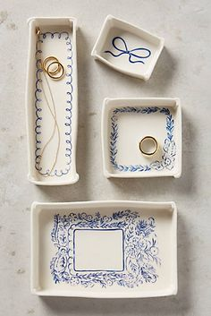 Indigo Illustration Trinket Dishes