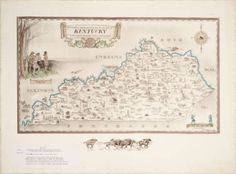 """Historical and geographical map of the state of Kentucky """"The dark and bloody ground"""". :: Kentucky Maps"""