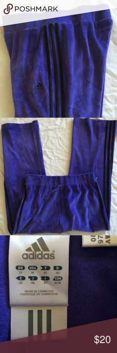 """Adidas fleece velour pants sweats fitness lounge Medium. Purple black. Like new! Great to shop in. Lounge. Fitness. 37.5"""" length. 28"""" inseam. 30"""" waist and can stretch some. Cotton poly blend fleece velour feel.  Have fun shopping. Bundle up items 😃 adidas Pants Track Pants & Joggers"""