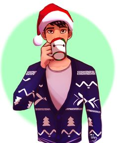 Tadashi at Christmas with a Baymax mug of coco - fan art by tuffuny.   [For more Disney tips, secrets, pics, etc., please visit my blog: http://grown-up-disney-kid.tumblr.com/ ]