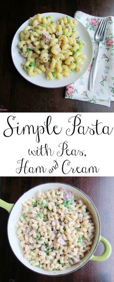 This Simple Pasta with Peas, Ham and Cream is a perfect spring time meal.  Make it with your leftover Easter ham or just because.  It is delicious, fast and easy!