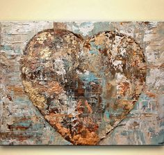 original modern gold heart painting textured acrylic Art by Osnat #Abstract