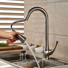 Duas Funções de Níquel Escovado Dupla Pulverizador Torneira Da Cozinha Único Punho Pull Out Kitchen Mixer Torneira em Torneiras de cozinha de Melhoramento Da casa no AliExpress.com | Alibaba Group