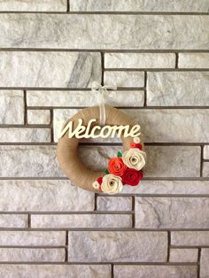 Yarn Wreath Handmade Felt Decoration - Welcome Wreath on Etsy, $25.00