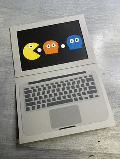 I had such fun making this card for my nephews 15th birthday. The keyboard was printed on, I then used the owl builder punch from Stampin' Up! to make the ghosts. The pacman is a circle with a wedge cut out. 15th Birthday, Birthday Cards, Ghosts, Keyboard, Punch, Stampin Up, Wedge, Owl, Make It Yourself