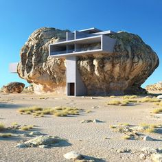 Architectural designer Amey Kandalgaonkar has created renderings of House Inside. Architectural designer Amey Kandalgaonkar has created renderings of House Inside a Rock, a concept for a modernist concrete house built within a giant rock. Organic Architecture, Futuristic Architecture, Concept Architecture, Amazing Architecture, Contemporary Architecture, Pavilion Architecture, Building Architecture, Residential Architecture, Casa Do Rock
